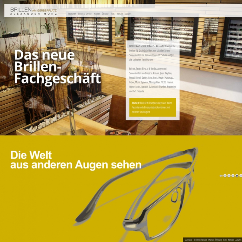 One-Page Design für Honz Brillen